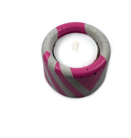 Ail+El Magenta Pink Concrete Tea Light Candle Holder