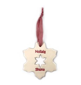 Maple Tree Pottery Nollaig Shona Snowflake Christmas Decoration