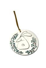 Karo Art Porcelain Hare Disc Christmas Decoration