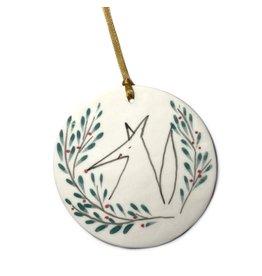 Karo Art Porcelain Fox Disc Christmas Decoration