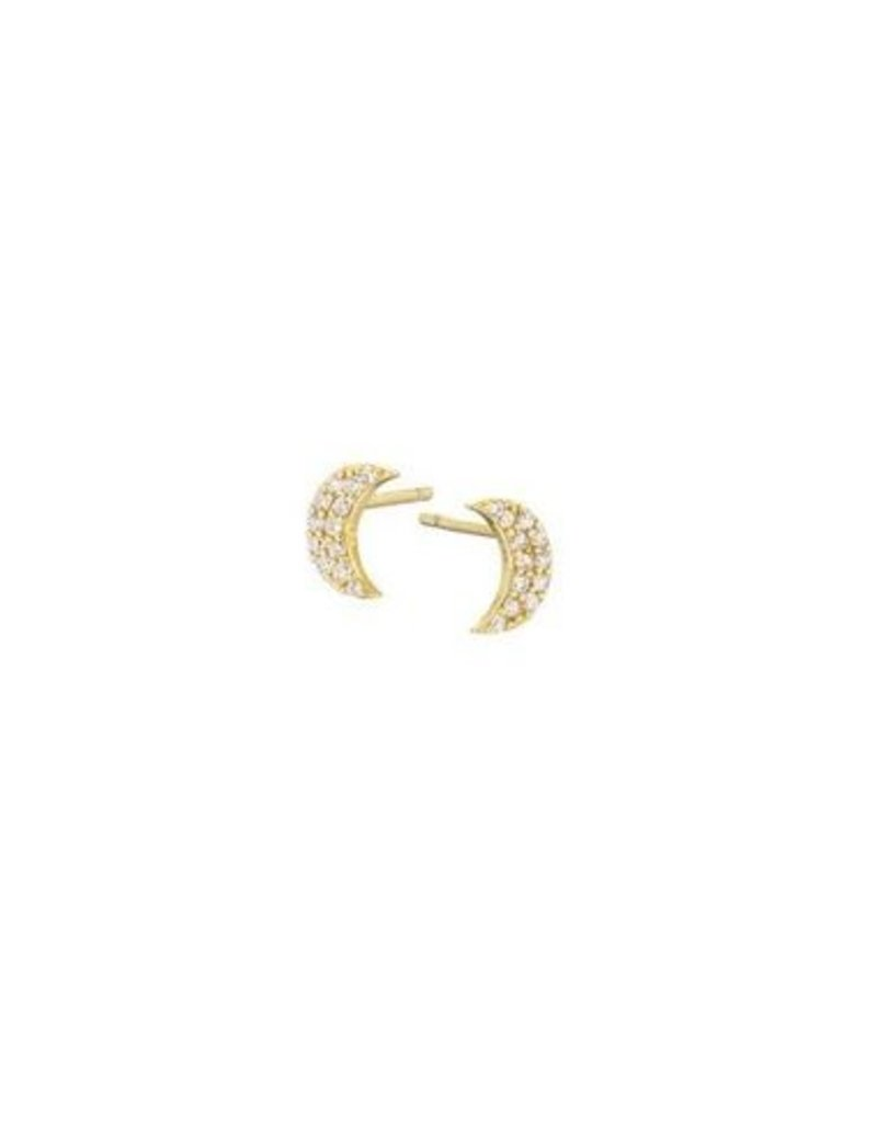 Mary k Jewellery Gold Pave Crescent Moon Stud Earrings