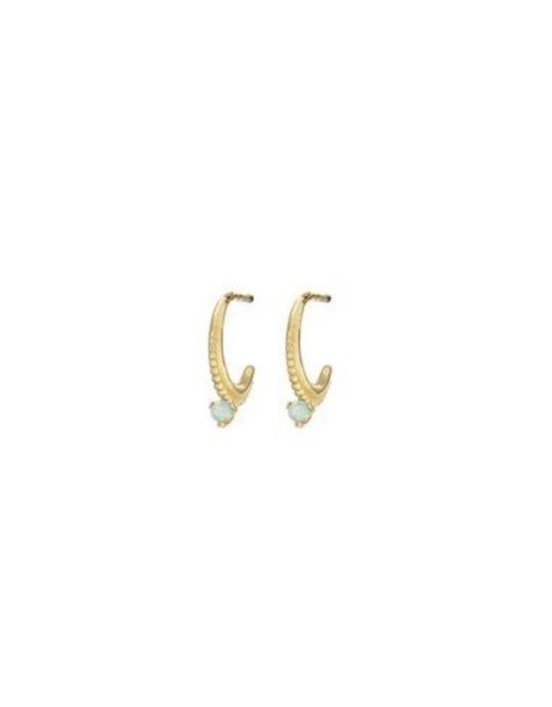 Mary k Jewellery Gold Mini Opal Hoop Earrings