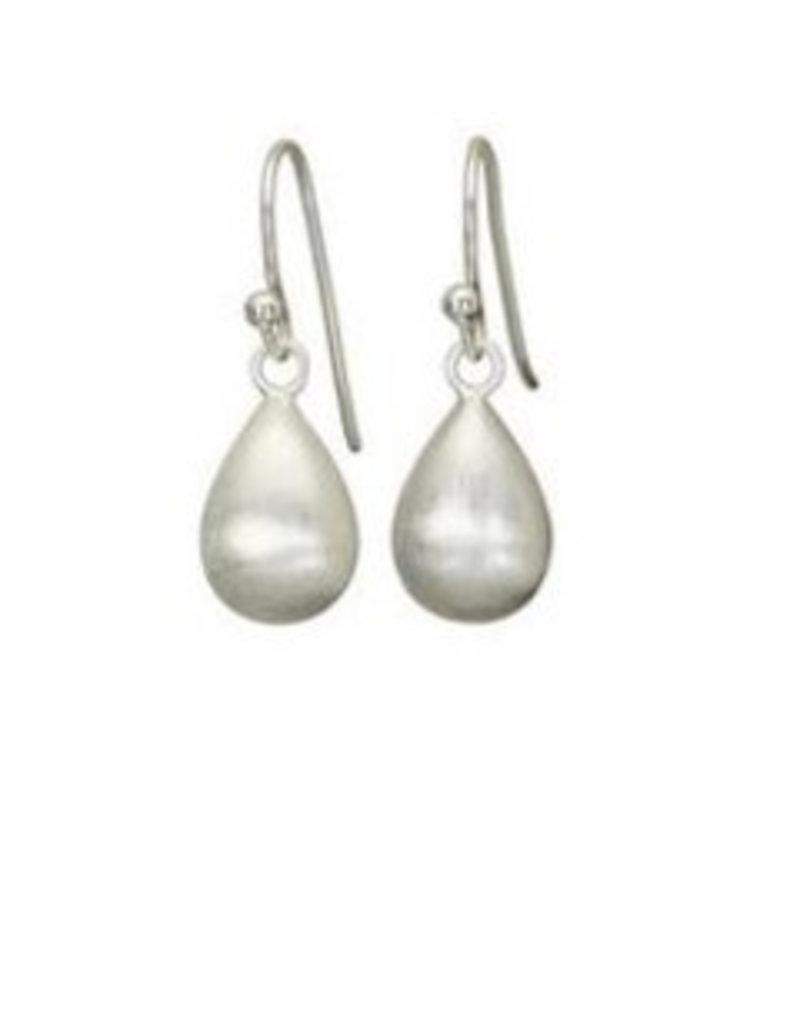 Mary k Jewellery Brushed Silver Pear Drop Earrings