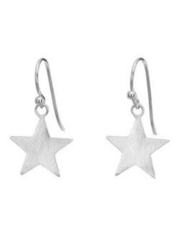 Mary k Jewellery Brushed Silver Star Drop Earrings