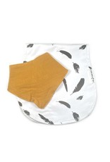 The Stork Box Feather and Mustard Dribble Bib and Burp Cloth Gift Set