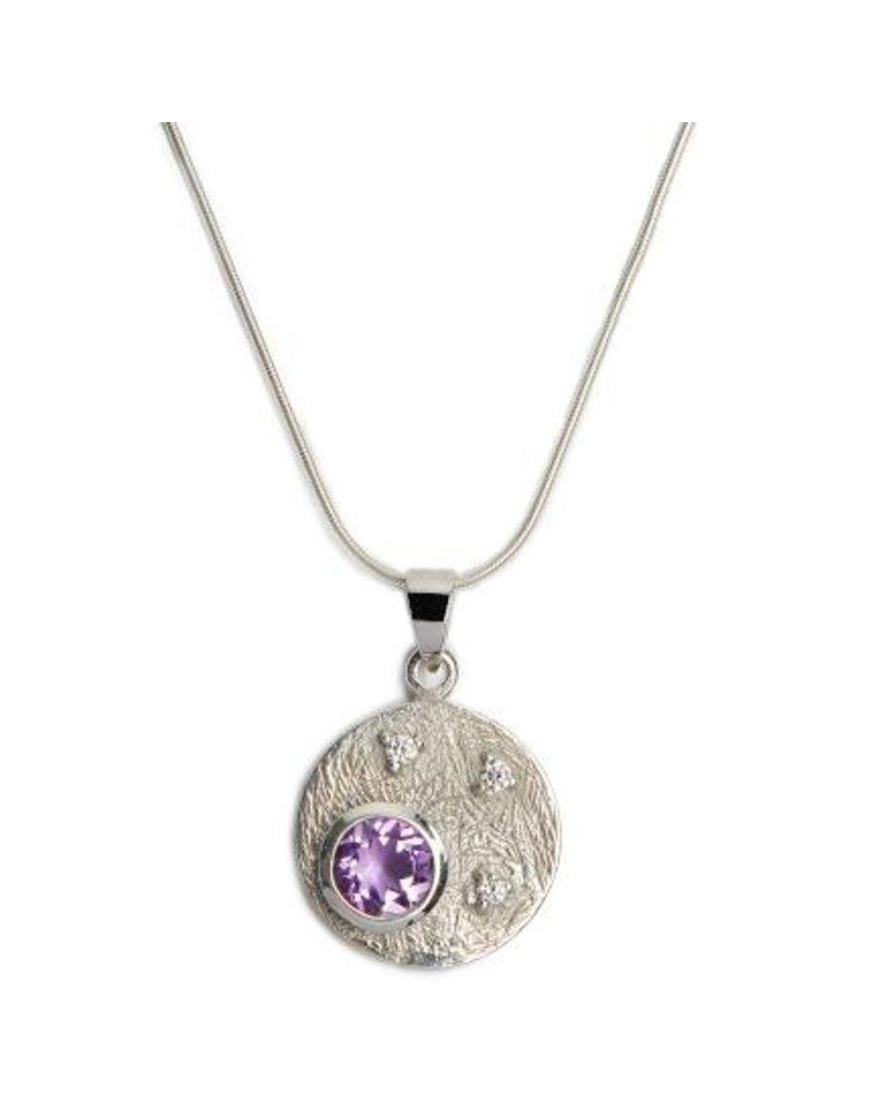 Gallardo and Blaine Celeste Silver and Amethyst Pendant Necklace