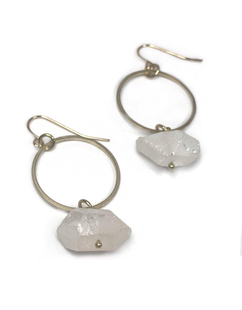 Kaiko Studio Quartz and Brass Circle Earrings
