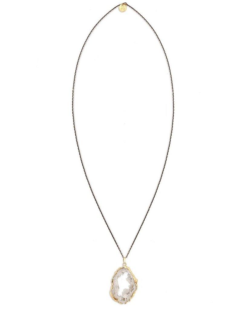 Aria V White Druzy Necklace