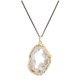 Aria V White Druzy Necklace