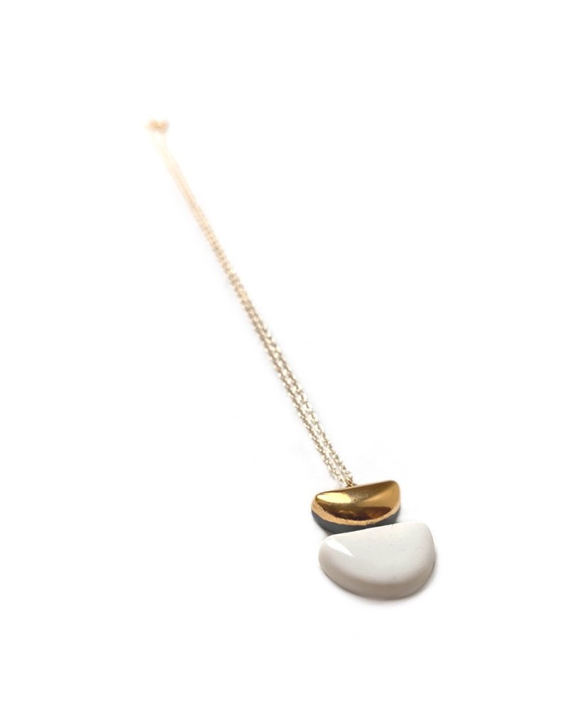 Danu Porcelain and Gold Semi Circle Necklace - White