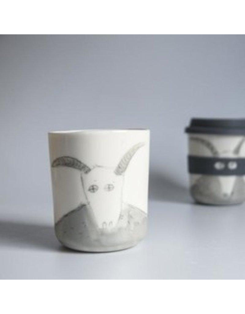 Karo Art Bandit / Superhero Porcelain Takeaway Cup - Goat
