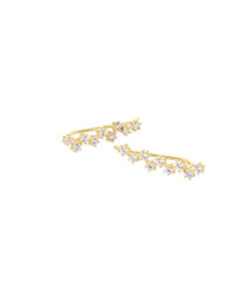 Mary k Jewellery Gold Pave Cluster Climber Earrings