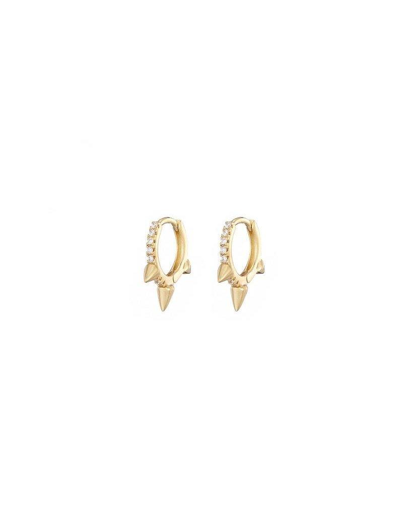 Mary k Jewellery Gold 3 Spike Pave Huggie Earrings