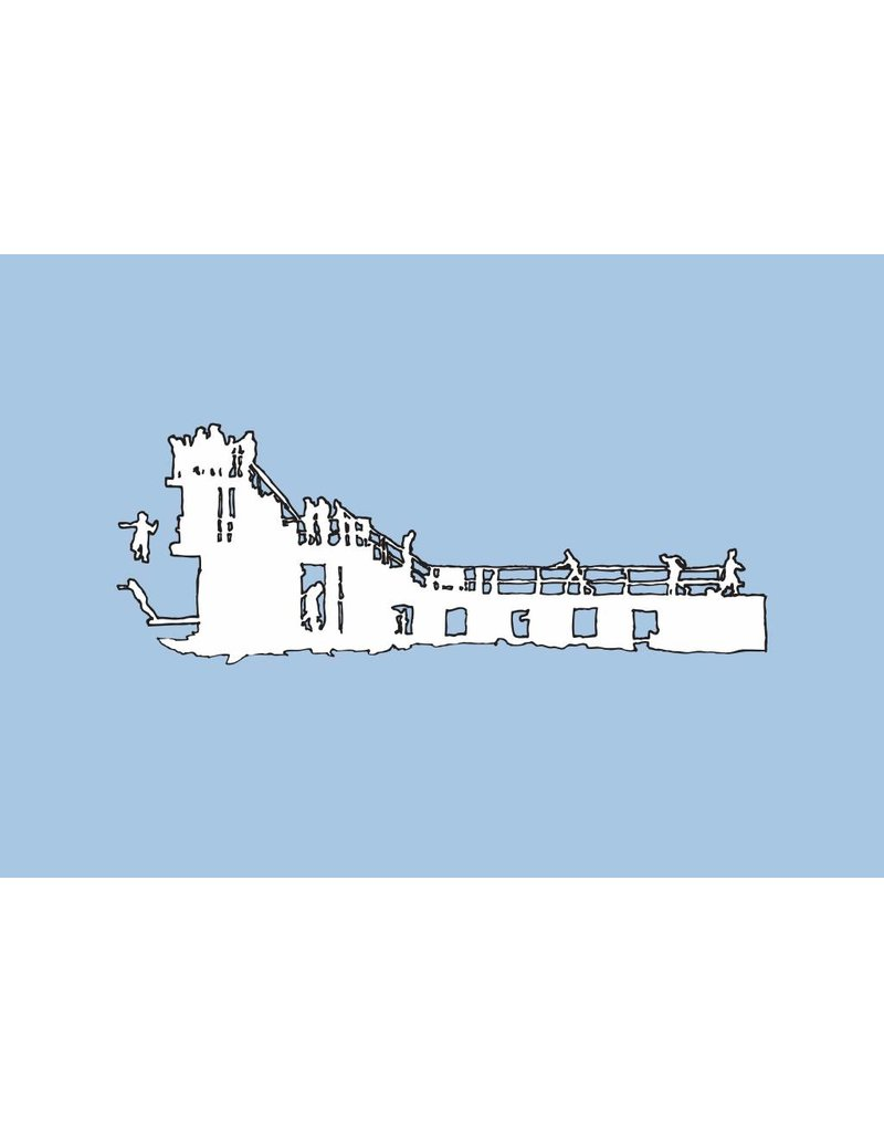 My Shop Collection Salthill Diving Board A4 Print- Blue