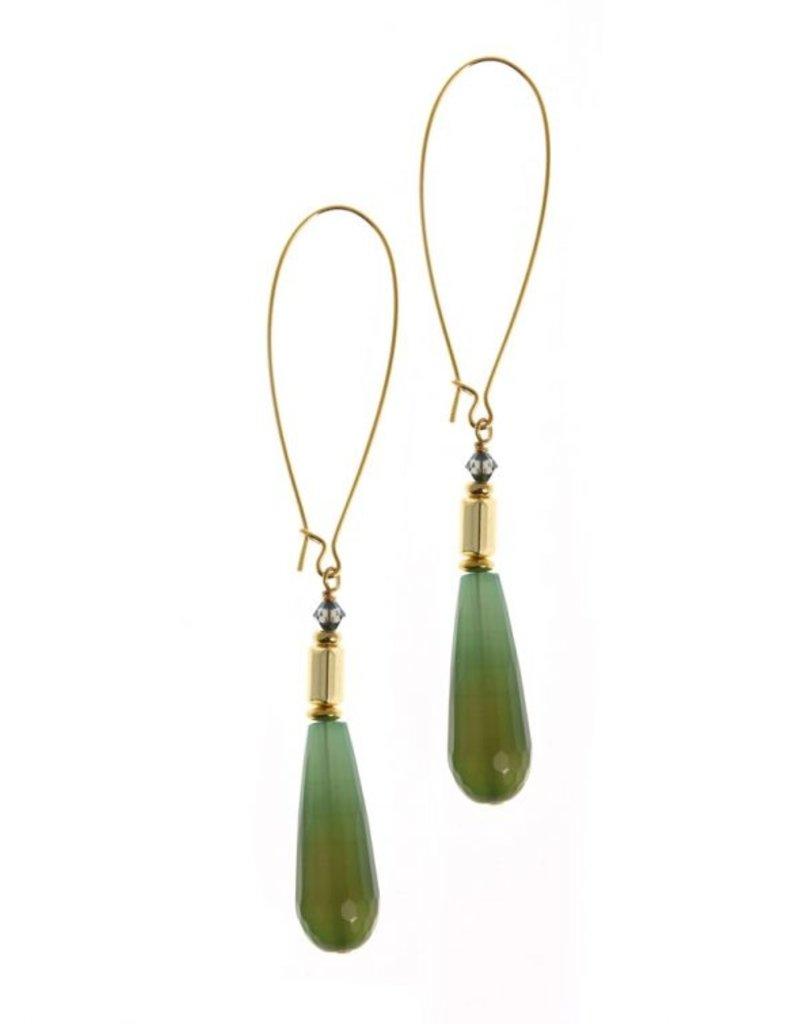 KKajoux Jewels Wilde Emerald Drop Long Earrings