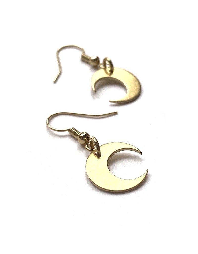 Kaiko Studio Crescent Moon Brass Earrings