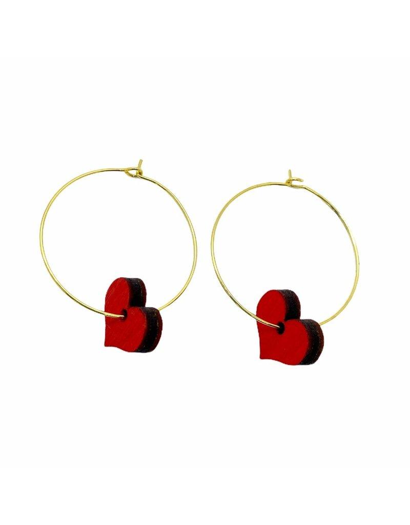 Shock Of Grey Wooden Red Heart Hoop Earrings