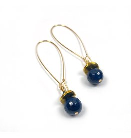 KKajoux Jewels Siam Blue Long Earrings