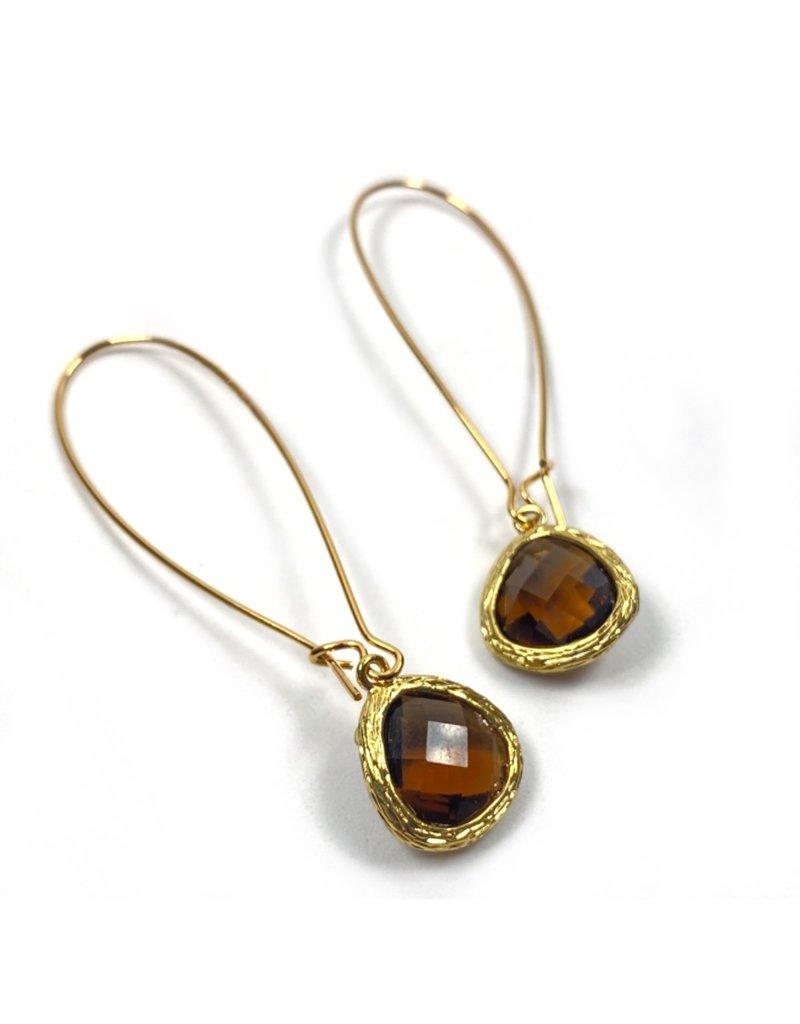 KKajoux Jewels Roman Amber Teardrop Long Earrings