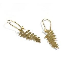 Kaiko Studio Delicate Brass Fern Earrings
