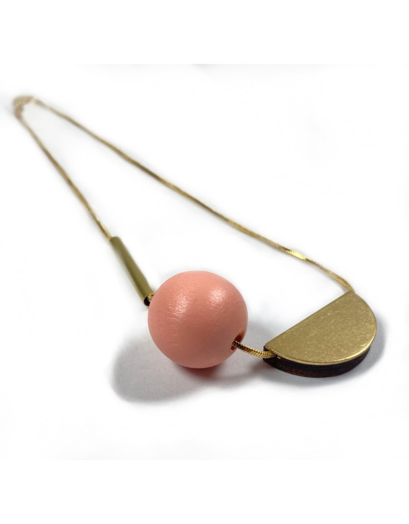 Shock Of Grey Multi Shape Necklace - Peach
