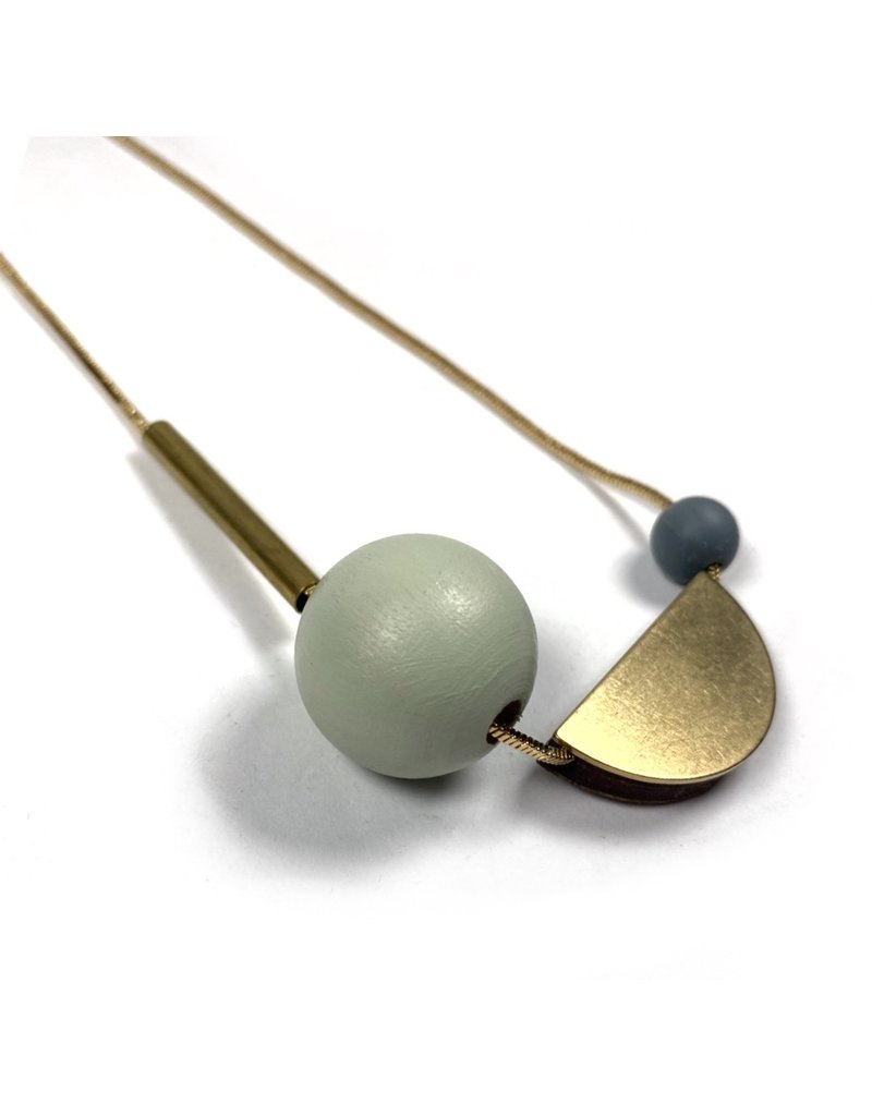 Shock Of Grey Multi Shape Necklace - Sage Green and Grey