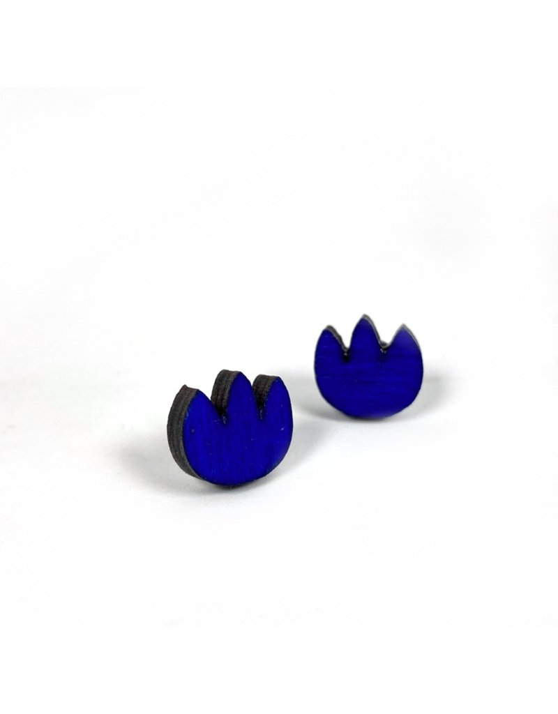 Shock Of Grey Wooden Tulip Stud Earrings - Blue