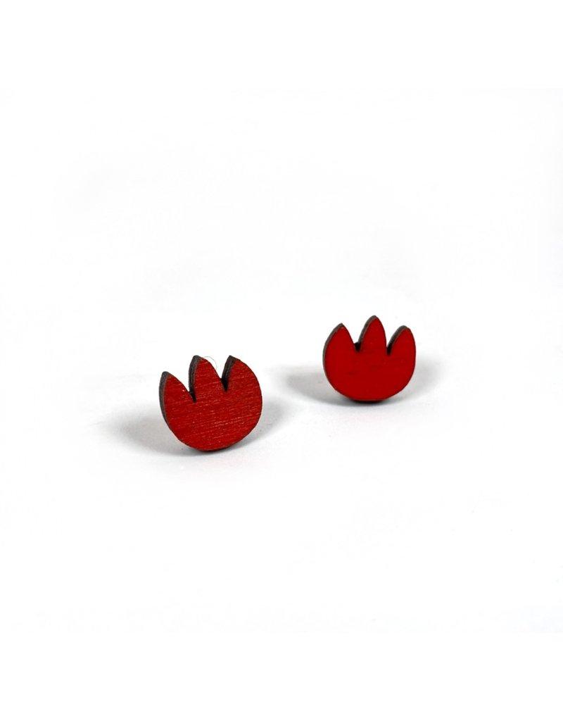 Shock Of Grey Wooden Tulip Stud Earrings - Red