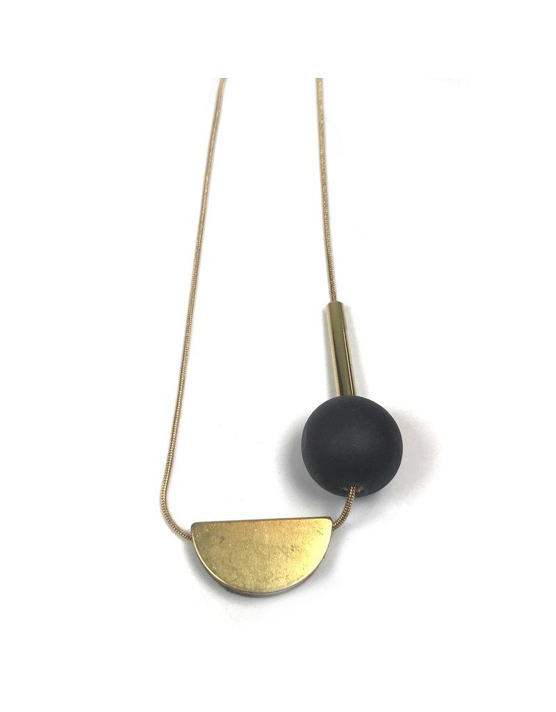 Shock Of Grey Multi Shape Necklace - Black