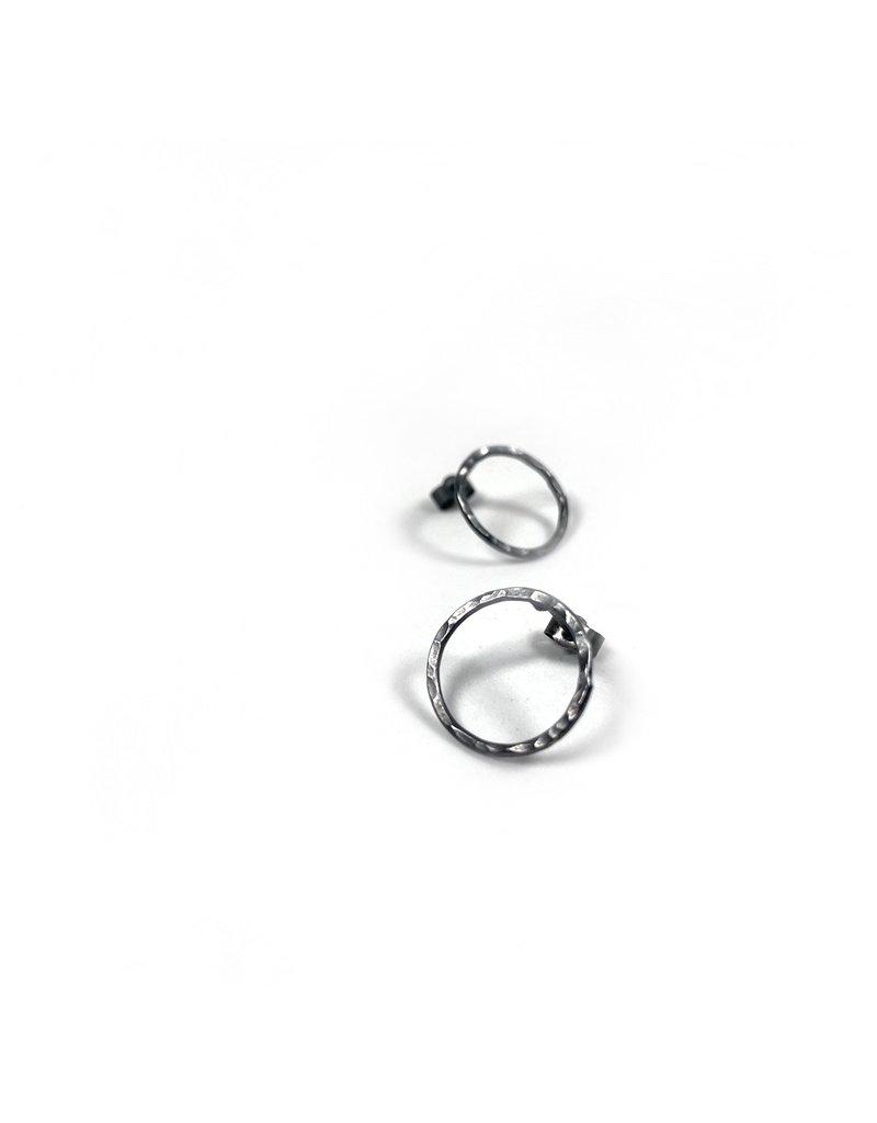 Ghost and Bonesetter Oxidised Silver Circle Earrings