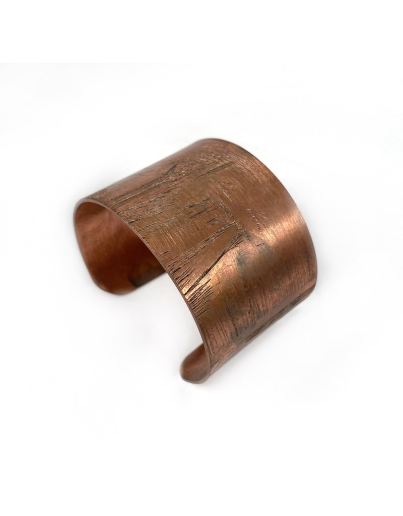Ghost and Bonesetter Wide Etched Copper Cuff