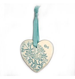 Maple Tree Pottery Ceramic Gra Heart - Light Blue Flowers