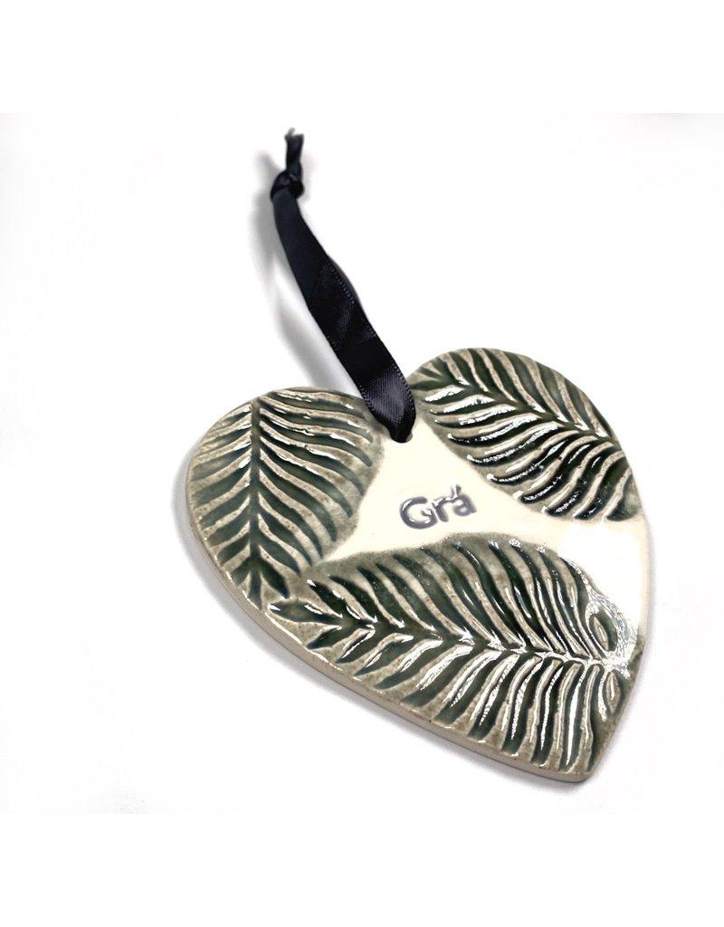 Maple Tree Pottery Ceramic Gra Heart - Dark Green Leaf
