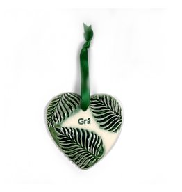 Maple Tree Pottery Ceramic Gra Heart - Green Leaf