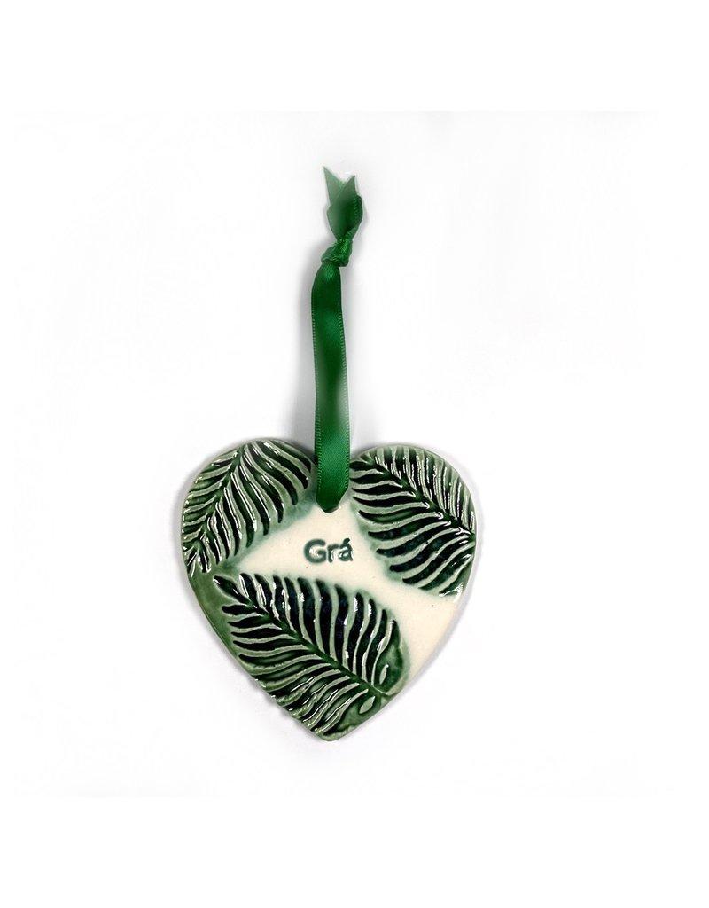 Maple Tree Pottery Ceramic Gra Heart - Green Leaf