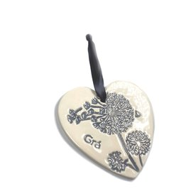 Maple Tree Pottery Ceramic Gra Heart - Grey Dandelion