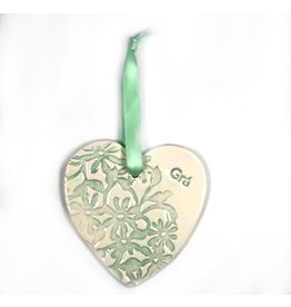 Maple Tree Pottery Ceramic Gra Heart - Light Green Flowers