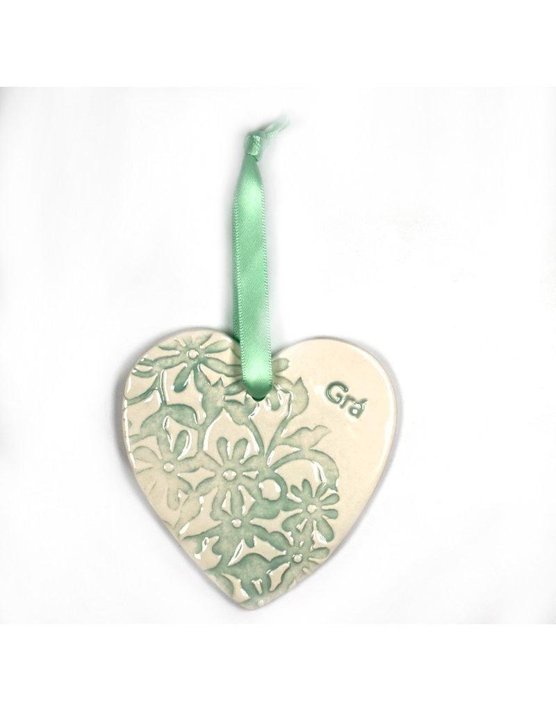 Maple Tree Pottery Ceramic Gra Heart - Light Green Flowers