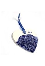 Maple Tree Pottery Ceramic Gra Heart - Navy Flower