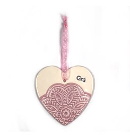 Maple Tree Pottery Ceramic Gra Heart - Pink Flower