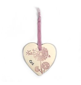 Maple Tree Pottery Ceramic Gra Heart - Pink Dandelion
