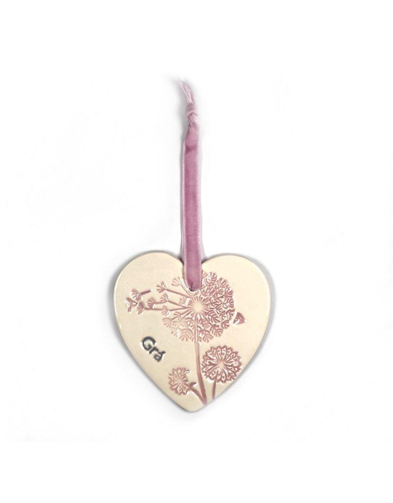 Maple Tree Pottery Ceramic Gra Heart - Pink Dandelion