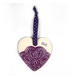 Maple Tree Pottery Ceramic Gra Heart - Purple Flower