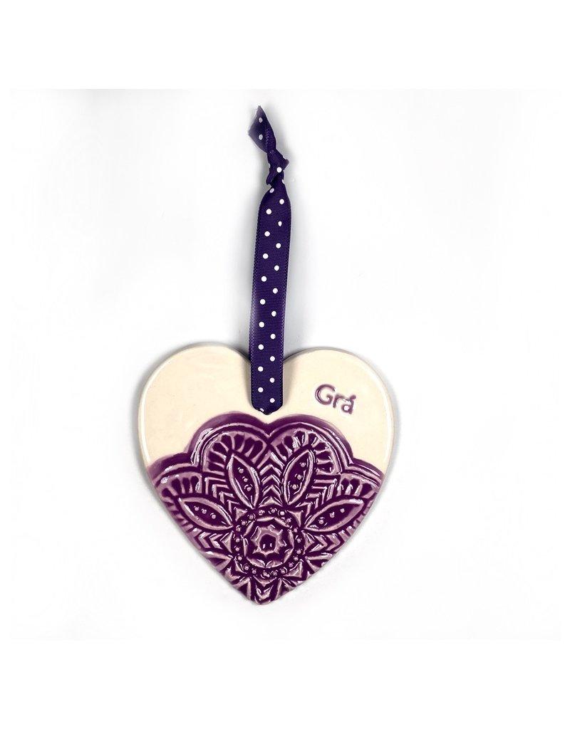 Maple Tree Pottery Ceramic Gra Heart - Purple Flower