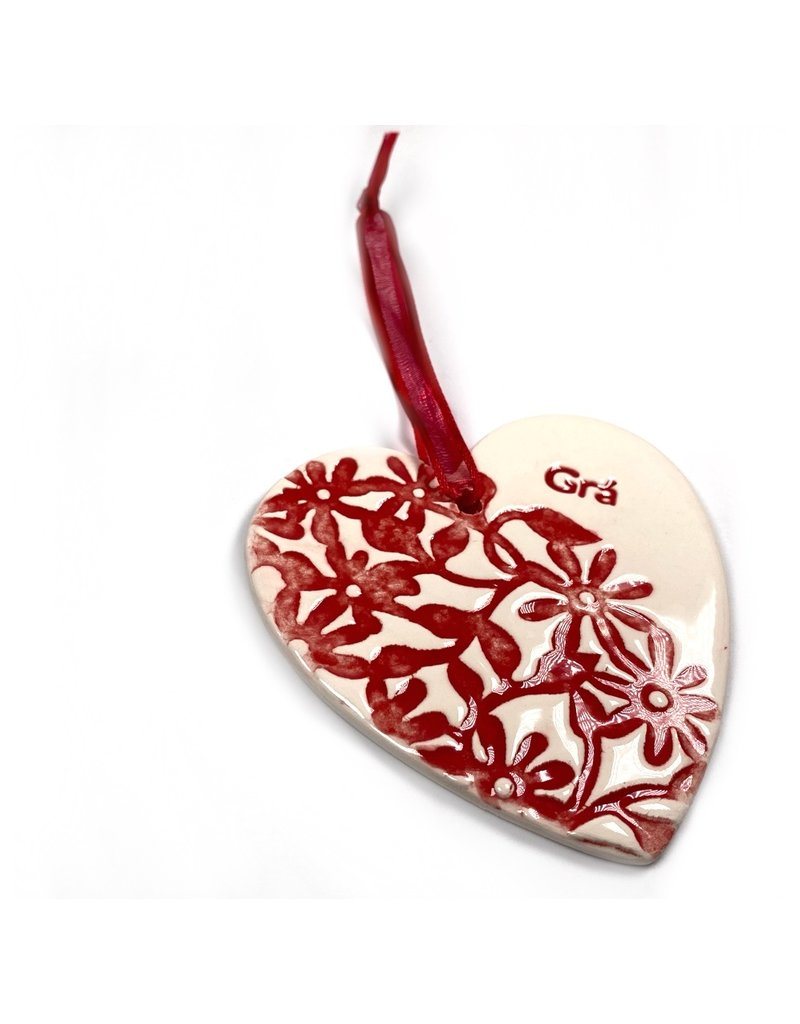 Maple Tree Pottery Ceramic Gra Heart - Red Flowers