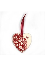 Maple Tree Pottery Ceramic Gra Heart - Red Flowers