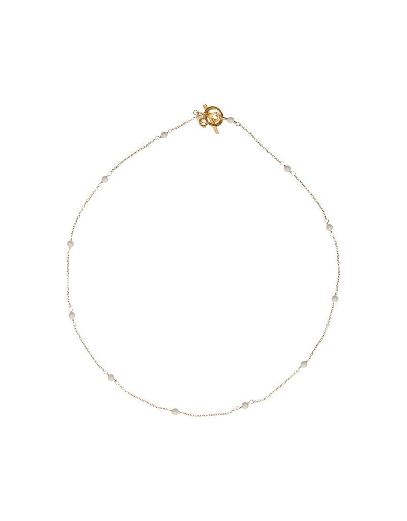 Vivien Walsh Gold Mini Dot Necklace - Ivory