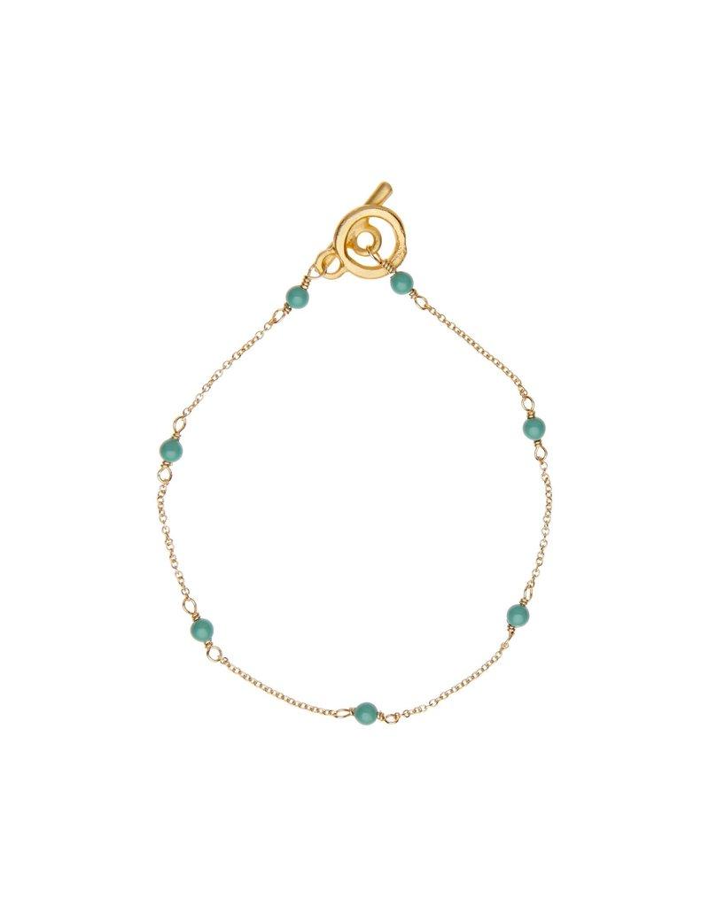 Vivien Walsh Gold Mini Dot Bracelet - Jade