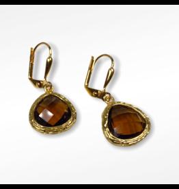 KKajoux Jewels Roman Amber Teardrop Short Earrings