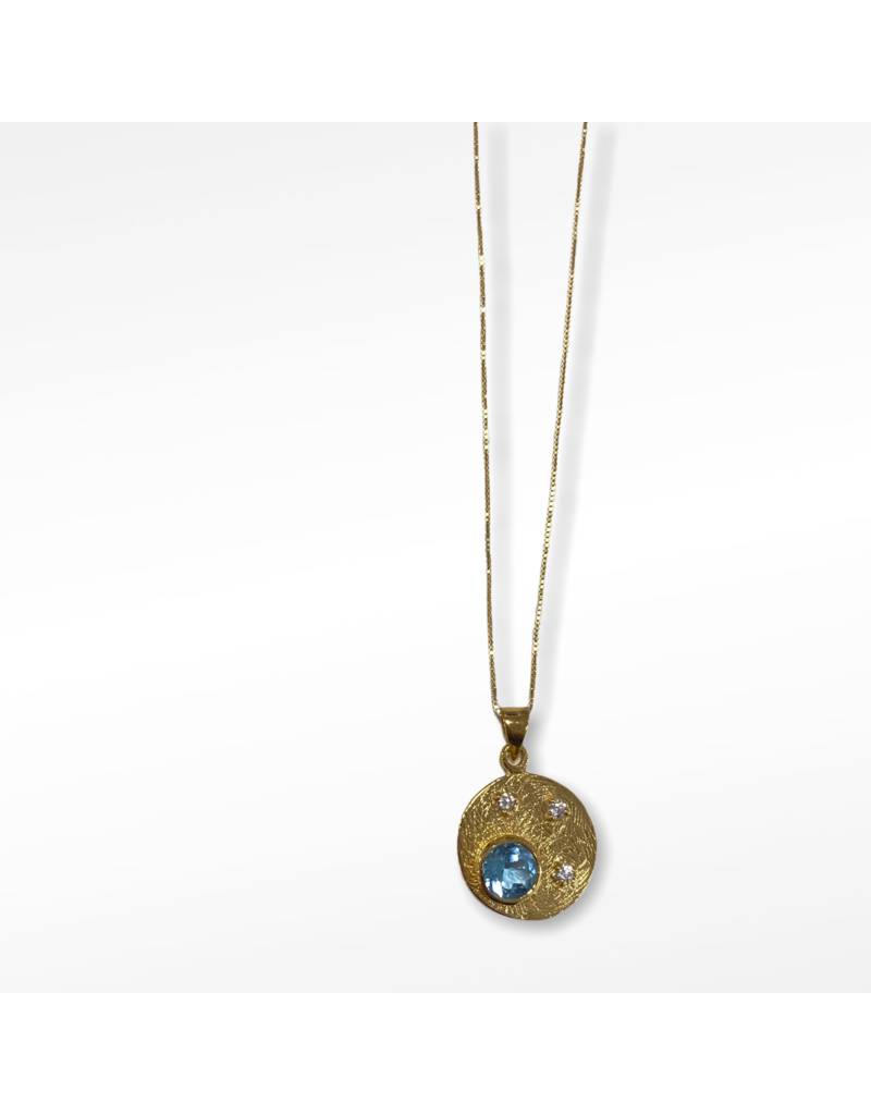 Gallardo and Blaine Celeste Gold and Topaz Pendant Necklace